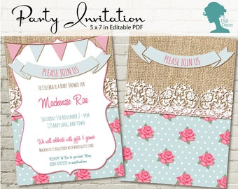 Digital Party Printable: Editable Lace, Burlap & Tea Rose Party Invitation 5x7in DIY Personalize INSTANT DOWNLOAD