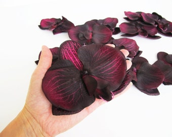 "Artificial Orchids 15 Silk Flowers Dark Purple Black Orchids 4.9"" Floral DIY Wedding Accessories Flower Supplies Faux Fake"
