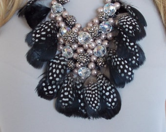 Black Feather and Beaded Statement Necklace