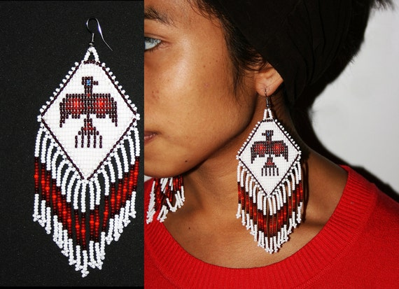 Beautiful Native American Style Dangle Earrings, Thunderbird Earrings, Huichol Eagle Earrings, Huichol Bead Work, Leather Backed