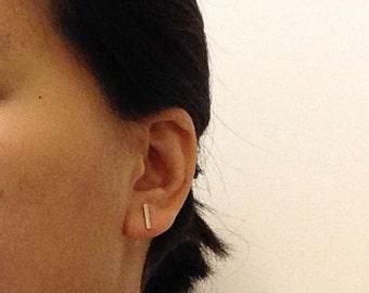 Gold Silver Bar Stud Earrings, Gold Silver Line Earrings, Small Earrings, Minimalist, Modern
