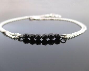 Black Onyx Silver Bracelet, Silver Bracelet,Black Bracelet, Black Bracelet Silver,Onyx Bracelet,Sterling Silver Bracelet,Black Onyx Bracelet