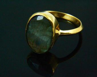 Natural Labradorite Ring, Labradorite Jewelry, Gemstone Rings, Handmade Ring, 14K Gold Plated Gem Stone Jewelry