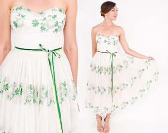 50s Floral Prom Dress | Pink Strapless Embroidered Tea Party Dress | Extra Small