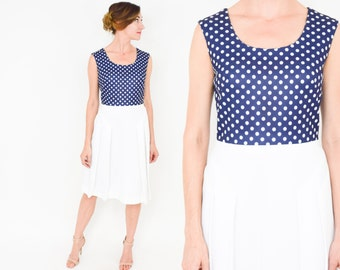 70s Navy White Polka Dot Dress | Pleated Sleeveless Dress | Alfred Werber | Small