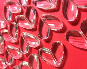 Clear Faceted 34mm acrylic heart beads - chunky craft supplies for wire bangle or jewelry making - 34x28mm, heart jewelry valentines day