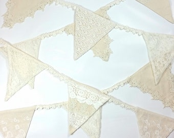 Linen & Lace Bunting. Vintage style lace pennants, wedding bunting, christening bunting, birthday bunting, wedding pennants,
