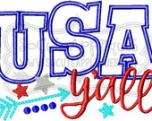 Embroidery design 5x7 6x10 Red white & blue USA yall, 4th of July embroidery, american, Independence Day, socuteappliques, patriotic