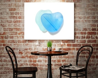 Art Print of Seaham SeaGlass - Two contrasting Blue Hearts - From Seaham England