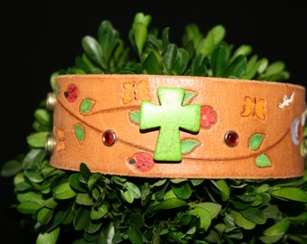 Leather cuff - handcrafted - one of a kind - religious - Cuff You by Suz