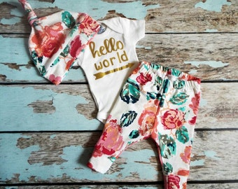 Hello World, Newborn Set, Coming Home Outfit
