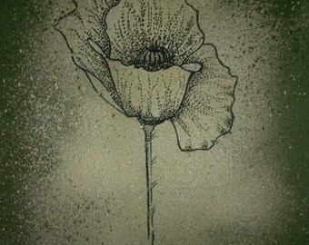 Canvas poppies flowers - dotwork poppy