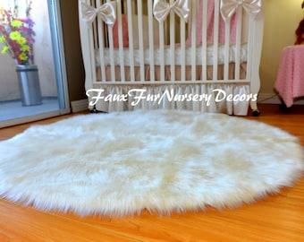 Nursery Rug Decor Area Rug Sheepskin Round Furry Plush Cute Girl or Boy Decorative Warm White in Picture Handmade USA PlushFurEver Assorted