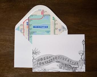 Handmade New York City Card - Central Park Bow Bridge