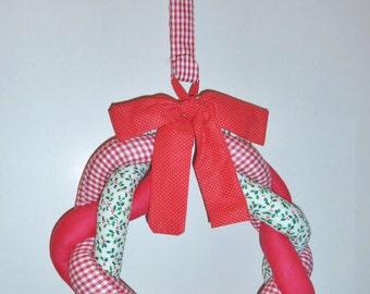 "Vintage Christmas Wreath Braided Fabric, 14"" Christmas Decoration w/hanger"