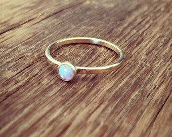 Gold ring with Opal; 14K gold filled or Sterling silver Opal ring; Minimalist design gold ring