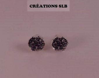 Green Leopard cabochons earrings