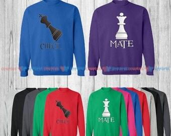 CheckMate - Matching Couple Sweatshirt - His and Her Sweatshirts - Love Sweaters