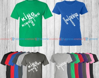 King & Queen - Matching Couple Shirts - His and Her T-Shirts - Love Tees