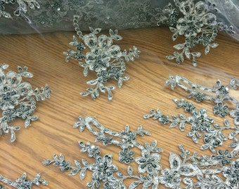 Gray embroider beads and sequence bridal lace fabric bty