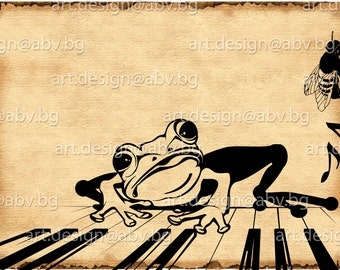 Vector FROG with piano and fly, AI, eps, PNG, pdf, svg, dxf, jpg Download, Digital image, graphical, discount coupons