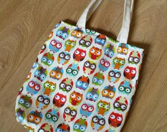 Tote bag - owls, colourful owl bag, handmade bag, cotton bag