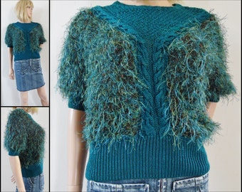 70s/80s hand knitted fluffy top sweater short sleeve pullover French dark jade green top size medium