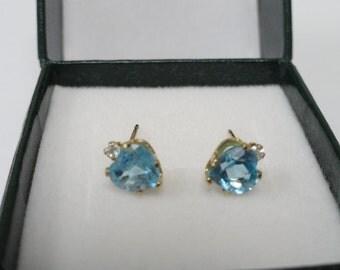 Vintage 10k Yellow Gold Heart Shaped Blue Topaz Post Earrings Stud Earrings Jewelry
