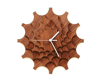 Cogwheel walnut - unique stylish wall clock made of wood, a piece of wall art