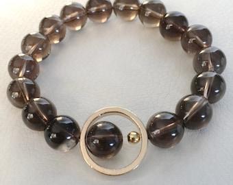 Smoky quartz and gold stretch bracelet, brown and gold bracelet, smoky quartz bracelet with gold accent