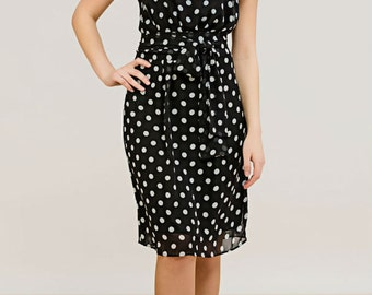 Black Chiffon summer dress Polka dot sleeveless dress Everyday black women's clothing