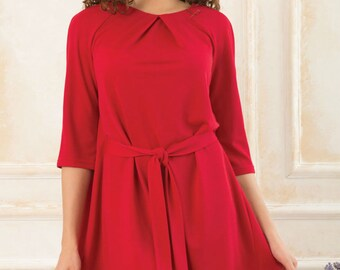 Red Boho dress  Asymmetric Spring Autumn woman dress Every day Folds A - line dress