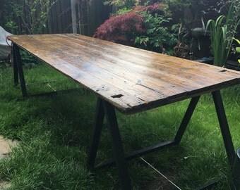 10ft 1950s school trestle table in pine
