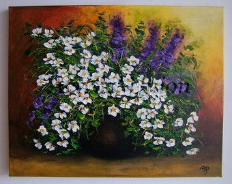 White Daisies Original Oil Painting Still life Impasto Palette knife Textured Purple Flowers Floral Art Daisy European Artist Bouquet Vase