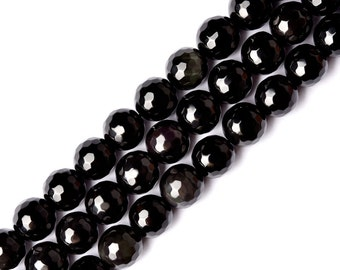 DIY Natural Crystal Obsidian Prism Beads 1pc Strand(Bead Size: 6-18mm)-WEN20065221936-CLR