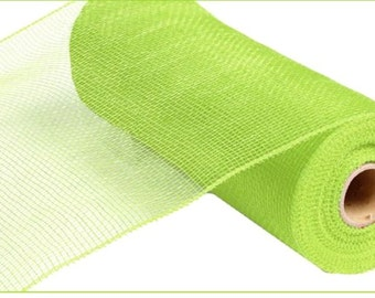 """10"""" Apple Green Deco Mesh, Apple Green Deco Poly Mesh, Apple Green Solid Deco Mesh, Lime Green Deco Mesh  (10 yards) - RE130256"""
