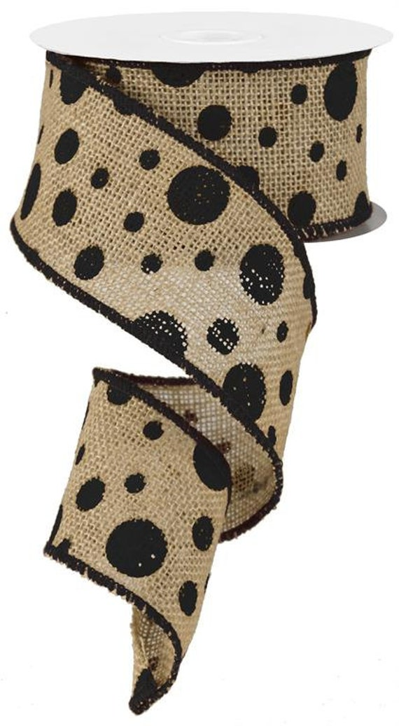 2 5 Black Polka Dot Burlap Ribbon Black Burlap Ribbon