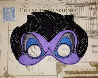 Ursula from The Little Mermaid inspired mask ITH Project In the Hoop Embroidery Design  Cosplay, Fancy dress, Masquerade, Photo booth, Prop