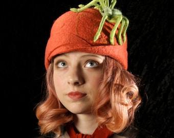 Bright Orange Cloche With A Spiderweb and Green Spider - Orange Cloche - Spider Hat  - Hand Felted Hat - Spider Web - Orange Wool Hat
