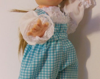 "Blue Gingham Pants Set for 11"" Horsman Poor Pitiful Pearl Dolls"
