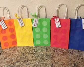 Personalized Lego Party Favor Bags, set of 10.