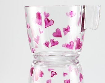 Hand painted glass cup with bordeaux hearts. mug, coffee, tea, Valentines day, personalized mug, gift, anniversary, kitchen decor