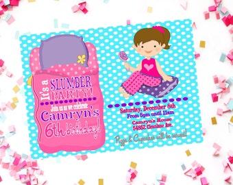 Girls Slumber Party Birthday Invitation - Sleepover Party Invite - Girls Birthday Slumber Party Invite - Slumber Party - Girls Night Invite
