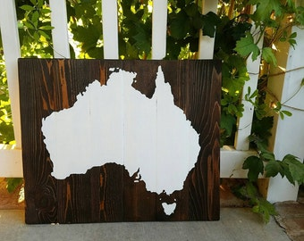 21x17 Wood Continent Wall Art -Australia Painted Sign