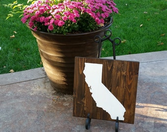 12x12 Painted Wood State Sign -California, CA silhouette wall art