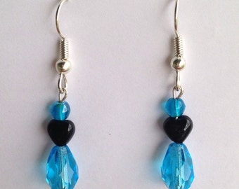 Aqua Blue with Black Heart plastic and glass Beaded Dangle Earrings, silver plated hypoallergenic fish hooks beads