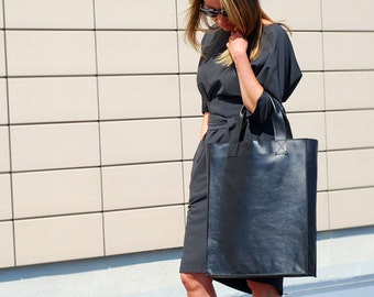 Big tote oversized bag- black real leather