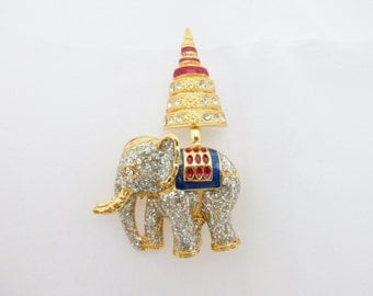 Elephant brooch gold tone with glittery silver tone coating AA719