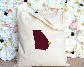 Georgia with Heart Tote - Bachelorette Party Tote -Destination Wedding - Savannah