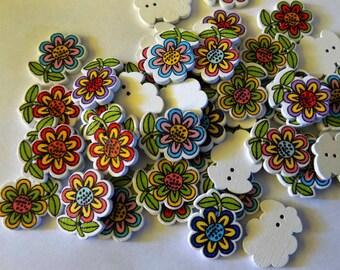 7 Wooden Little Flower Buttons  - #SB- 00261